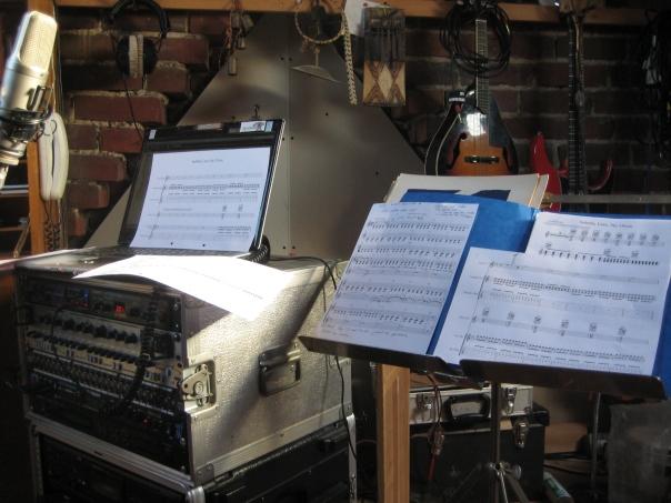Score writing in Chris Ellis' studio
